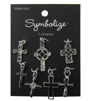 hildie & jo Symbolize 7 Pack Crosses Silver Charms