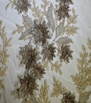Casa Collection Gianna Hand Bead 3D Metallic Fabric-White & Eggnog