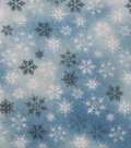 Keepsake Calico Holiday Cotton Fabric 43\u0022-Blue Glitter Snowflake