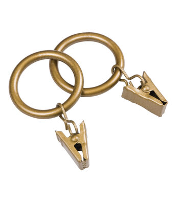 """Kenney Curtain Rod Clip Rings-Brass 1"""" or 1.5"""""""
