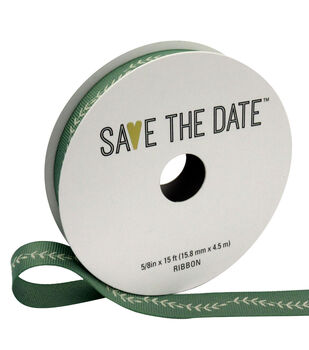 "Save the Date 5/8"" x 15ft Ribbon-Ivory Fern On Eucalyptus"