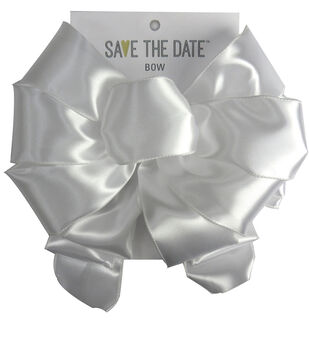 Save the Date 2.5'' Satin Bow-White