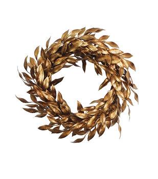 Handmade Holiday Christmas Metallic Leaf Wreath-Gold