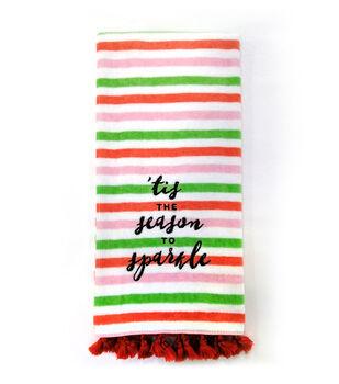 Handmade Holiday Cotton Towel-'Tis is the Season to Sparkle on Stripes