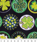 St. Patrick\u0027s Day Fleece Fabric-Shamrocks with Dots