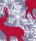 Anti-Pill Fleece Fabric 59\u0022-Snowflake Deer Gray Gingham