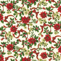 Christmas Cotton Fabric-Poinsettia & Ribbon Glitter