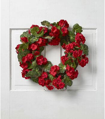 Fresh Picked Spring Geranium Wreath-Red & Green