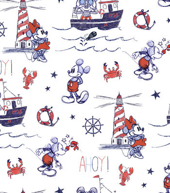 Disney Mickey & Minnie Mouse Cotton Fabric 44''-Nautical, Mickey & Ahoy!