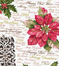 Holiday Inspirations Christmas Fabric-Poinsettia & Holly Script Metallic