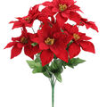 Handmade Holiday Christmas Medium Poinsettia Bush-Red