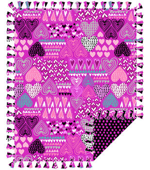 "No Sew Fleece Throw 48""-Hearts On Pink"