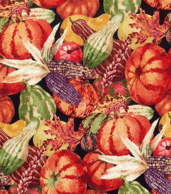 "Harvest Cotton Fabric 44""-Autumn Pumpkin Patch"