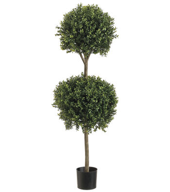Bloom Room Luxe 48'' Double Ball-Shaped Boxwood Topiary-Green