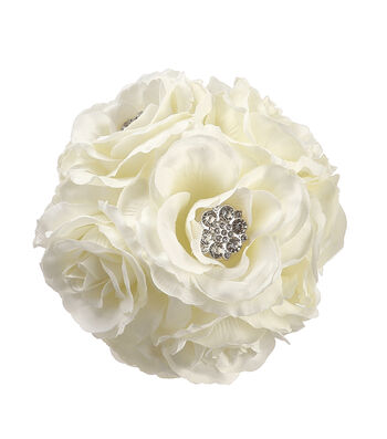 Bloom Room 5'' Rose Kissing Ball with Rhinestone-Cream