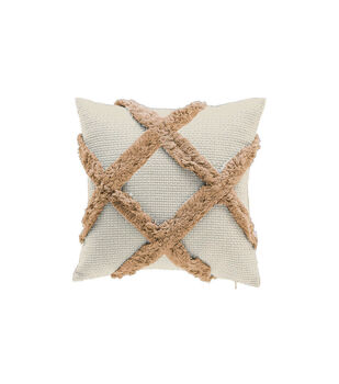 Simply Autumn 17''x17'' Pillow with Textured Diamonds