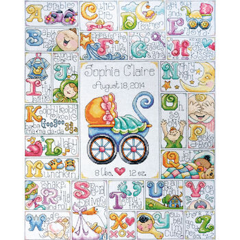 "Baby ABC Counted Cross Stitch Kit-16""X20"" 14 Count"