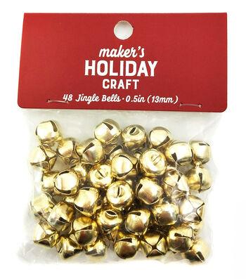 Maker's Holiday Craft Christmas 48 pk 0.5'' Bells-Gold