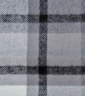 Plaiditudes Brushed Cotton Fabric -Ivory, Gray & Black Grid Check