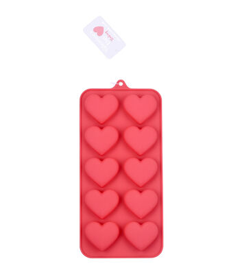 Valentine's Day 12-cavity 8.25''x4'' Silicone Candy Mold-Basic Hearts