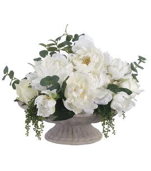 Peonies, Roses & Berries in Fiber Cement Plate 13''-White & Green