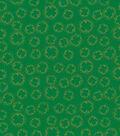 St. Patrick\u0027s Day Fabric -Shamrock Outline Metallic