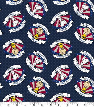 Peanuts Cotton Fabric-Stars and Stripes