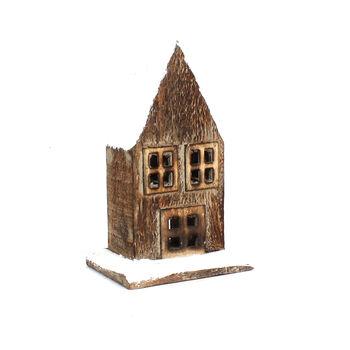 Handmade Holiday Christmas Small Wood House Tabletop Decor
