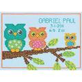 Owl Birth Record Mini Counted Cross Stitch Kit-7\u0022X5\u0022 14 Count