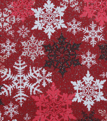 Christmas Cotton Fabric-Stamped Flakes Red Glitter