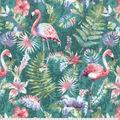 Novelty Cotton Fabric-Watercolor Flamingos