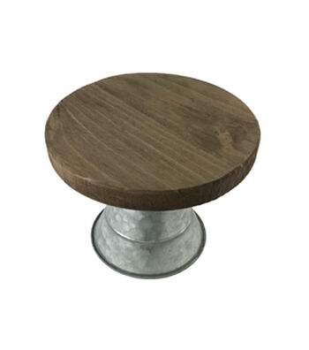 Rustic Wood & Galvanized Metal 8.75'' Wide Cake Stand