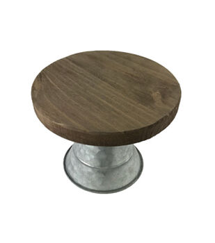 Mix the Media 8.75'' Rustic Wood & Galvanized Metal Cake Stand