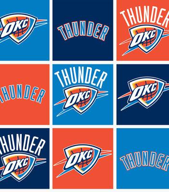 Oklahoma City Thunder Fleece Fabric -Block