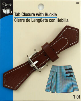 Tab Closure W/Silver Buckle-Brown 1/Pkg