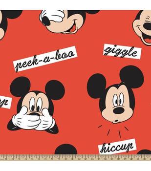 Disney Mickey Mouse Fleece Fabric-Mickey Word Play