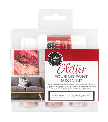 American Crafts Color Pour Glitter Mix-In Kit 4/Pk-Amber Drift
