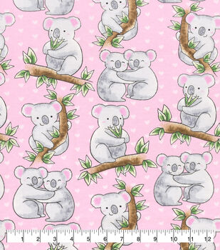 Snuggle Flannel Fabric-Loving Koalas Pink