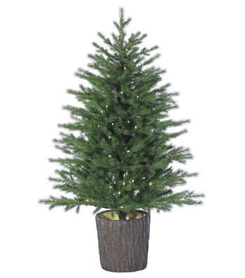 Battery Operated Russian Pine Tree with LED Lights in Plastic Urn 4'