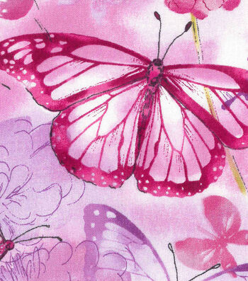 Keepsake Calico Cotton Fabric -Butterfly & Floral Watercolor