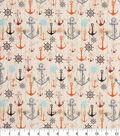 Novelty Cotton Fabric -Anchors on Cream