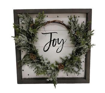 Handmade Holiday Christmas Wall Decor with Wreath-Joy