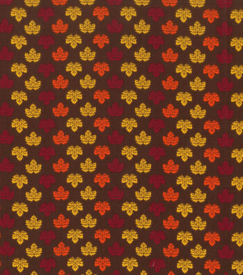 "Holiday Showcase™ Harvest Cotton Fabric 43""-Mini Leaves Brown"