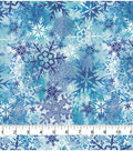 Christmas Cotton Fabric-Multi Snowflake With Blue