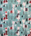 Doodles Christmas Cotton Fabric 57\u0022-Aqua Holiday Llama