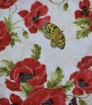"""Premium Cotton Fabric 44""""-Butterfly Poppy Garden"""