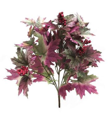 Blooming Autumn Maple Leaves & Berries Bush-Purple & Green