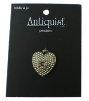 hildie & jo Antiquist Heart Antique Gold Pendant-Pearls & Crystal, , hi-res