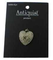 hildie & jo Antiquist Heart Antique Gold Pendant-Pearls & Crystal, , hi-res