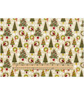 Holiday Cotton Fabric -Trees and Wreaths